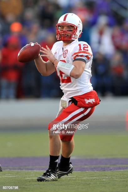 Quarterback Joe Ganz of the Nebraska Cornhuskers passed for 270 yards and two touchdowns against the Kansas State Wildcats on November 15 2008 at...