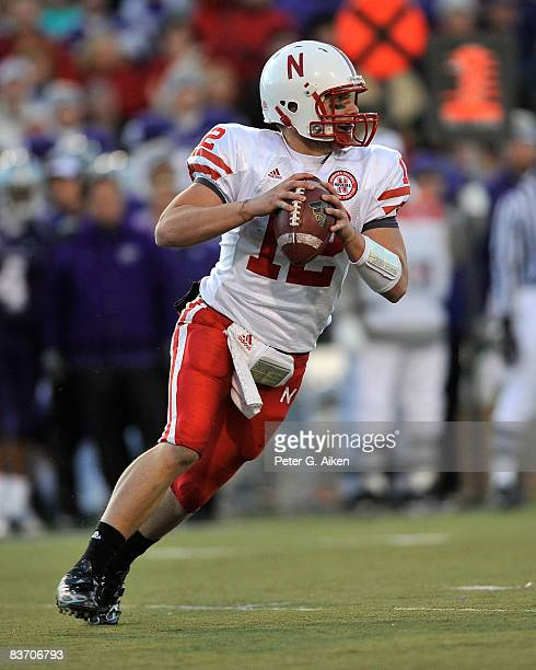 Quarterback Joe Ganz of the Nebraska Cornhuskers rolls out as he looks down field against the Kansas State Wildcats during the third quarter on...