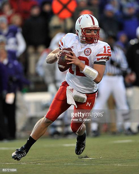 Quarterback Joe Ganz of the Nebraska Cornhuskers rolls to the outside against the Kansas State Wildcats during the third quarter on November 15 2008...
