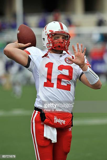 Quarterback Joe Ganz of the Nebraska Cornhuskers warms up before a game against the Kansas State Wildcats on November 15 2008 at Bill Snyder Family...