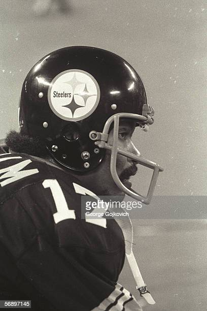 Quarterback Joe Gilliam of the Pittsburgh Steelers on the sideline during a game against the Oakland Raiders at Three Rivers Stadium on September 29...