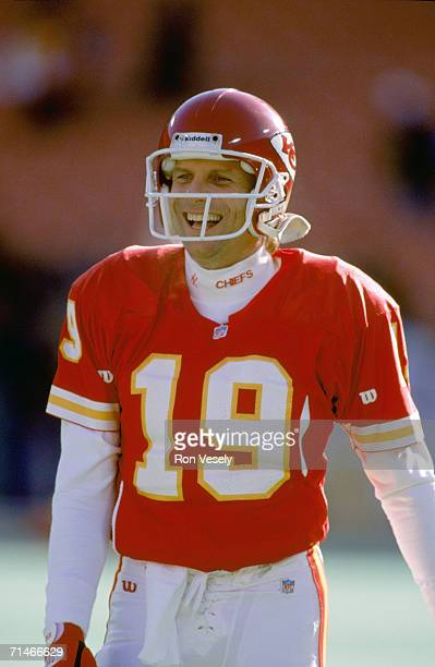 Quarterback Joe Montana of the Kansas City Chiefs laughs during the 1993 AFC Wild Card Playoff Game against the Pittsburgh Steelers at Three Rivers...
