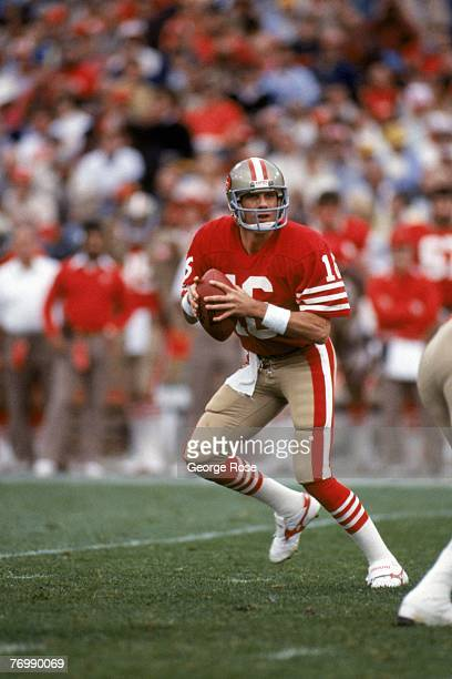 Quarterback Joe Montana of the San Francisco 49ers drops back to pass during a game against the Minnesota Vikings at Candlestick Park on December 8...