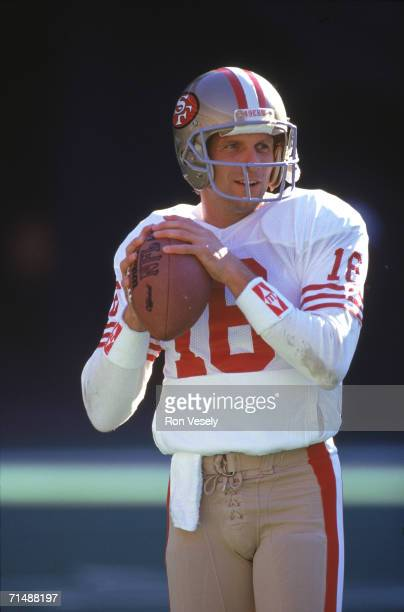 Quarterback Joe Montana of the San Francisco 49ers looks on in an undated photo Montana played for the Niners from 197992