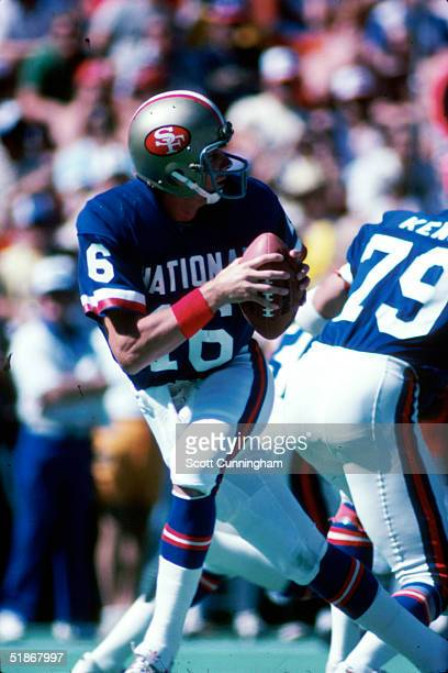 NFC quarterback Joe Montana of the San Francisco 49ers looks to pass in a 16 to 13 AFC win at the Pro Bowl on