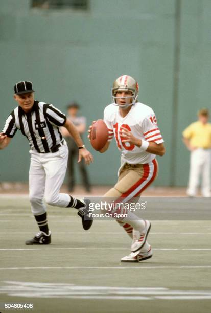 Quarterback Joe Montana of the San Francisco 49ers looks to pass against the Pittsburgh Steelers during an NFL football game November 1 1981 at Three...