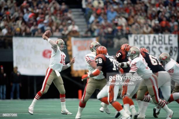 Quarterback Joe Montana of the San Francisco 49ers passes against the Cincinnati Bengals at Riverfront Stadium on December 6 1981 in Cincinnati Ohio...