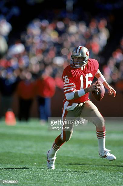 Quarterback Joe Montana of the San Francisco 49ers runs with the bal during a game against the Kansas City Chiefs at Candlestick Park on November 17...