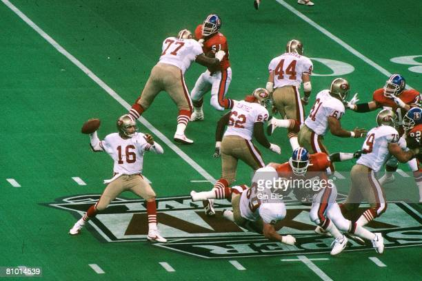 Quarterback Joe Montana of the San Francisco 49ers sets up to pass against the Denver Broncos in Super Bowl XXIV at the Superdome on January 28 1990...