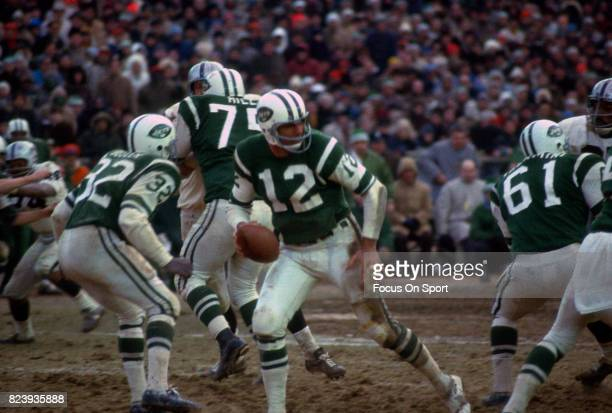 Quarterback Joe Namath of the New York Jets drop back to pass against the Oakland Raiders during the AFL Championship football game December 29 1968...
