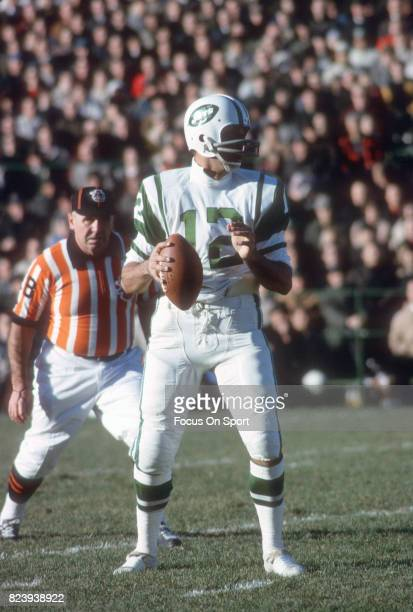 Quarterback Joe Namath of the New York Jets drops back to pass during an AFL football game circa 1966 Namath played for the Jets from 196576