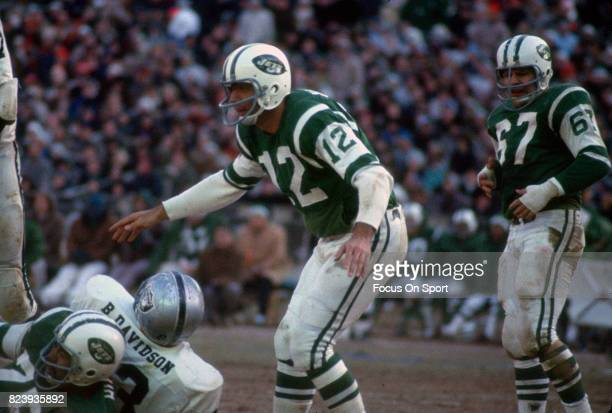 Quarterback Joe Namath of the New York Jets in action against the Oakland Raiders during the AFL Championship football game December 29 1968 at Shea...