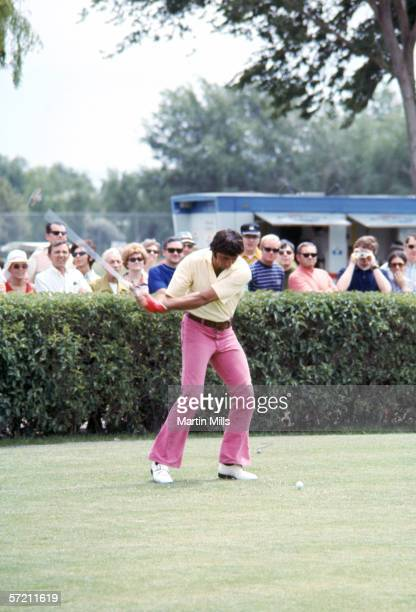 Quarterback Joe Namath of the New York Jets on a golf course during a celebrity tournament circa 1970's