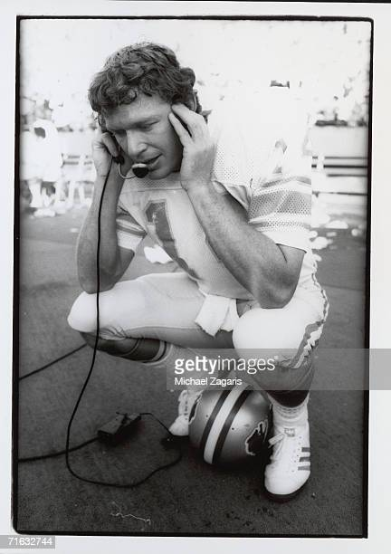 Quarterback Joe Reed of the Detroit Lions talks on the sideline phone during the game against the San Francisco 49ers at Candlestick Park on November...