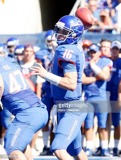 Quarterback Joe Southwick of Boise State looks for a receiver downfield against Miami at Bronco Stadium in Boise, Idaho, on Saturday September 15,...