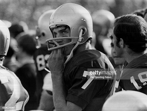 Quarterback Joe Theismann of the Notre Dame Fighting Irish circa 1970 at Notre Dame Stadium in South Bend, Indiana. Theismann played for the Fighting...