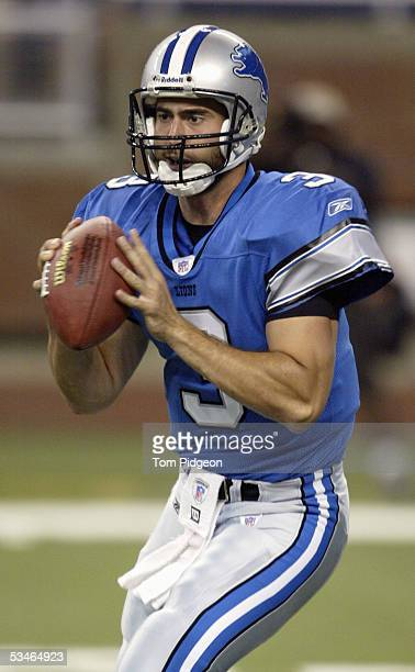 Quarterback Joey Harrington of the Detroit Lions looks to pass against the Cleveland Browns during the preseason game on August 20 2005 at Ford Field...