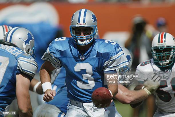 Quarterback Joey Harrington of the Miami Dolphins hands the ball off to running back Cory Schlesinger during the NFL game against the Detroit Lions...