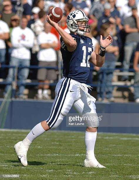 BYU quarterback John Beck completes a pass against UNLV at LaVell Edwards Stadium in Provo Utah Saturday Oct 21 2006 BYU defeated UNLV 527