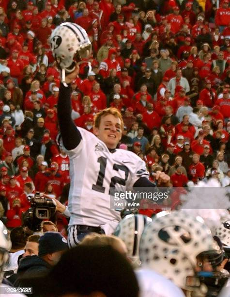 BYU quarterback John Beck is carried off the field on his players shoulders at RiceEccles Stadium in Salt Lake City Saturday Nov 25 2006 BYU defeated...