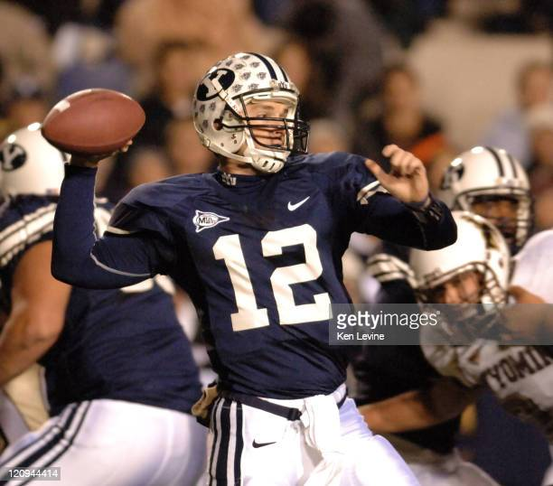 BYU quarterback John Beck looks for a receiver against Wyoming at LaVell Edwards Stadium in Provo Utah Thursday Nov 11 2006 BYU defeated Wyoming 557...