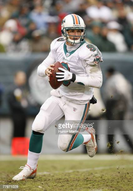 Quarterback John Beck of the Miami Dolphins looks for an open receiver during a game against the Philadelphia Eagles at Lincoln Financial Field...