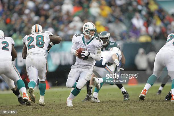Quarterback John Beck of the Miami Dolphins scrambles during the game against the Philadelphia Eagles on November 18 2007 at Lincoln Financial Field...