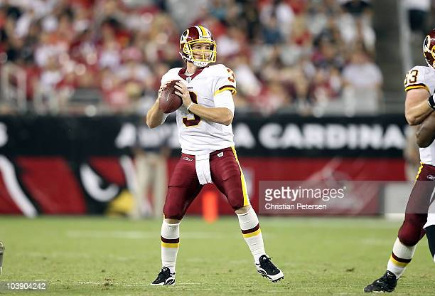 Quarterback John Beck of the Washington Redskins drops back to pass during the preseason NFL game against the Arizona Cardinals at the University of...