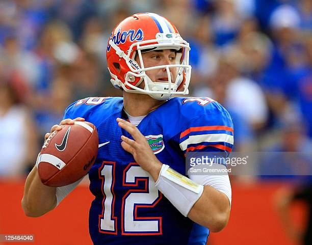 Quarterback John Brantley of the Florida Gators attempts a pass during a game against the Tennessee Volunteers at Ben Hill Griffin Stadium on...