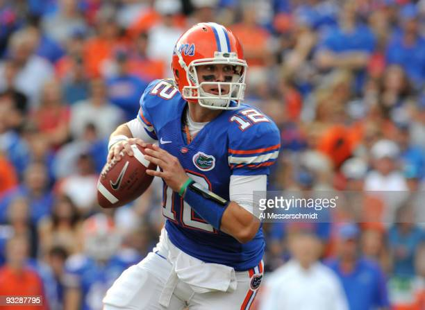 Quarterback John Brantley of the Florida Gators looks to pass against the Florida International University Golden Panthers November 21 2009 at Ben...