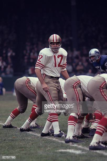 November 24: Quarterback John Brodie of the San Francisco 49ers calls out the signals during a Thanksgiving Day game on November 24, 1966 against the...