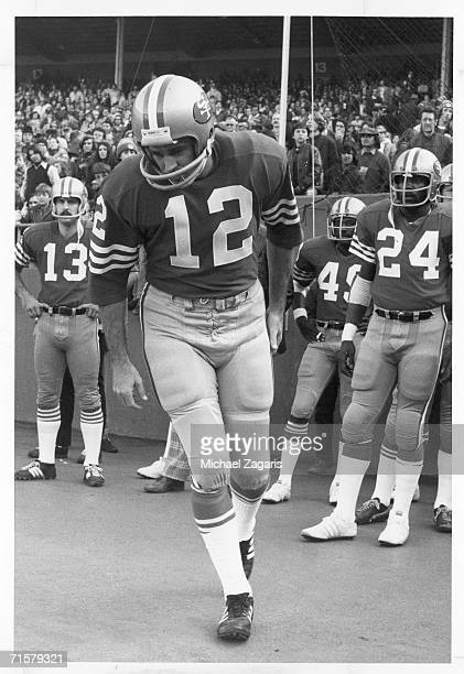 Quarterback John Brodie of the San Francisco 49ers is introduced before the final game of his career against the Pittsburgh Steelers at Candlestick...