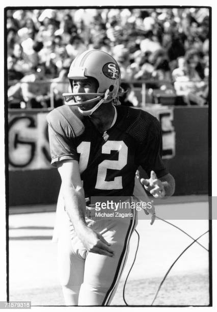 Quarterback John Brodie of the San Francisco 49ers warms up before the game against the Minnesota Vikings at Candlestick Park on October 14 1973 in...