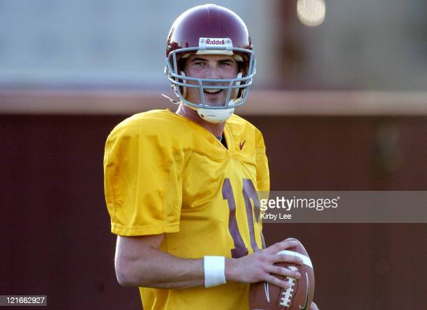 USC quarterback John David Booty during spring football practice at Howard Jones Field on the campus of the University of Southern California in Los...