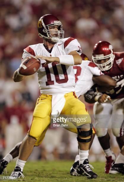 Quarterback John David Booty of the University of Southern California Trojans throws against the Arkansas Razorbacks in the second quarter on...