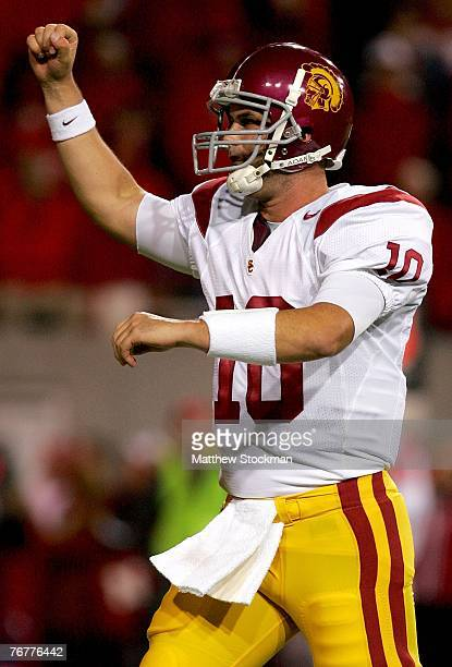 Quarterback John David Booty of the USC Trojans celebrates a touchdown against the Nebraska Cornhuskers on September 15 2007 at Memorial Stadium in...