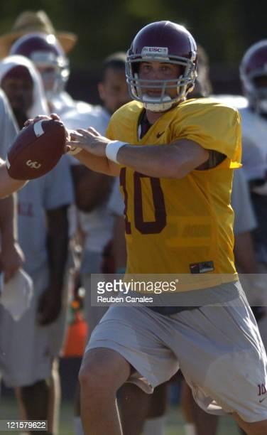 Quarterback John David Booty of the USC Trojans in action during a practice at USC in Los Angeles California on August 10 2006