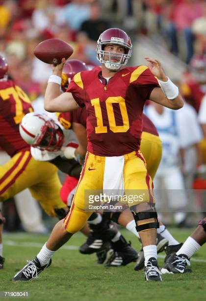 Quarterback John David Booty of the USC Trojans throws a pass against the Nebraska Cornhuskers on September 16 2006 at the Los Angeles Memorial...