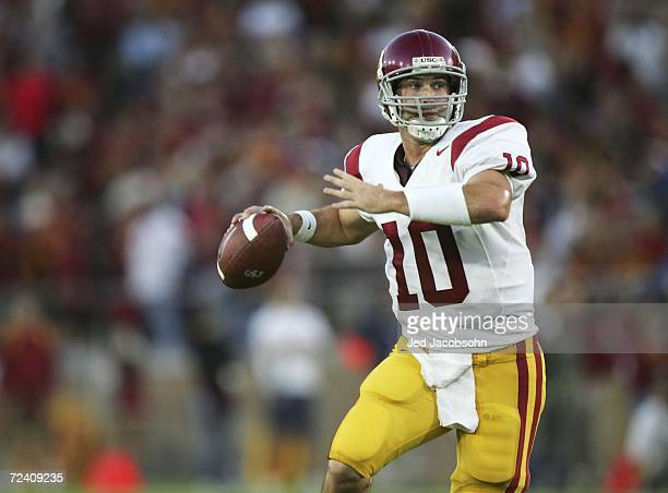 Quarterback John David Booty of the USC Trojans throws a pass against the Stanford Cardinal during a game on November 4, 2006 at Stanford Stadium in...