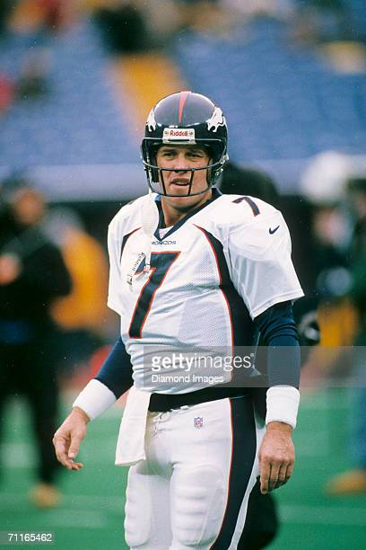 Quarterback John Elway of the Denver Broncos during warmups prior to a game on December 7 1997 against the Pittsburgh Steelers at Three Rivers...