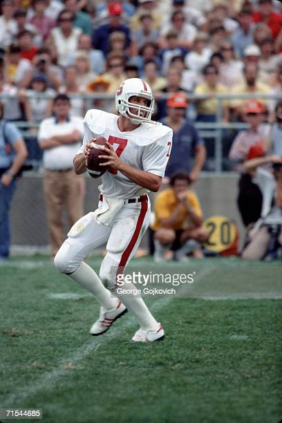 Quarterback John Elway of the Stanford University Cardinal passes against the Purdue University Boilermakers on September 12 1981 in West Lafayette...