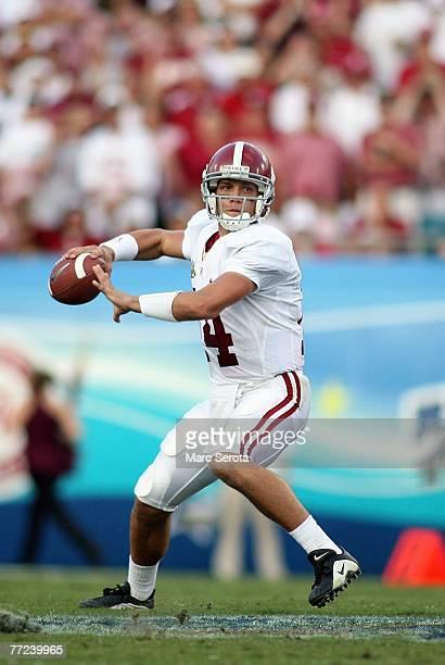 Quarterback John Parker Wilson of the University of Alabama rolls out against the Florida State University September 29, 2007 at Jacksonville...