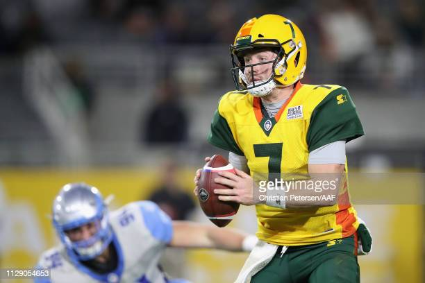 Quarterback John Wolford of the Arizona Hotshots in action during the first half of the Alliance of American Football game at Sun Devil Stadium on...