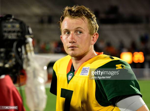 Quarterback John Wolford of the Arizona Hotshots waits to be interviewed after the Hotshots defeated the Orlando Apollos 2217 in the Alliance of...