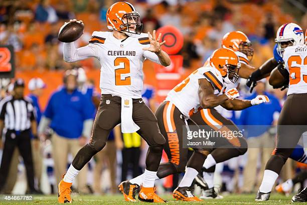 Quarterback Johnny Manziel of the Cleveland Browns passes during the second half of a preseason game against the Buffalo Bills at FirstEnergy Stadium...