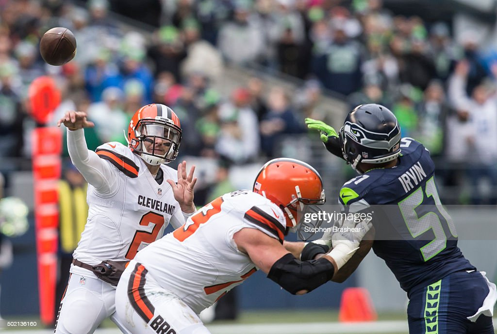 Quarterback Johnny Manziel #2 of the Cleveland Browns passes the ball during during the first half of a football game against the Seattle Seahawks at CenturyLink Field on December 20, 2015 in Seattle, Washington. The Seahawks won the game 30-13.