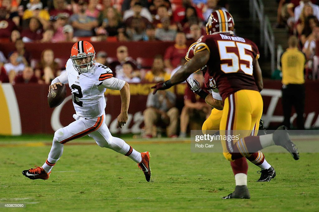 Quarterback Johnny Manziel #2 of the Cleveland Browns scrambles during a preseason game against the Washington Redskins at FedExField on August 18, 2014 in Landover, Maryland.