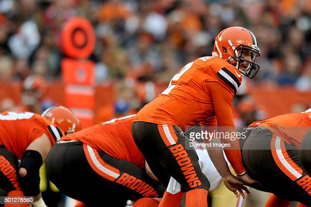 Quarterback Johnny Manziel of the Cleveland Browns takes a snap from under center during a game against the San Francisco 49ers on December 13 2015...