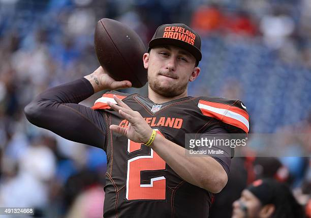 Quarterback Johnny Manziel of the Cleveland Browns warms up against the San Diego Chargers during their NFL Game on October 4 2015 in San Diego...