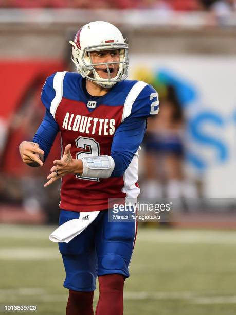 Quarterback Johnny Manziel of the Montreal Alouettes calls out the play against the Hamilton TigerCats during the CFL game at Percival Molson Stadium...